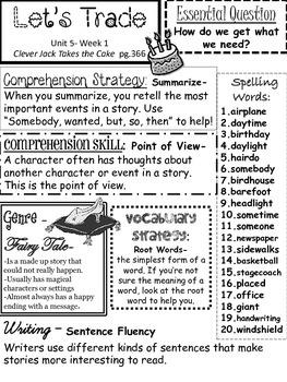 Wonders series weekly summaries- Unit 5