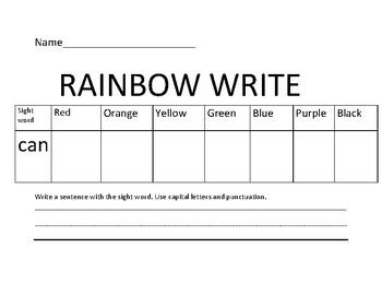 Wonders sight words rainbow write/write a sentence-kindergarten