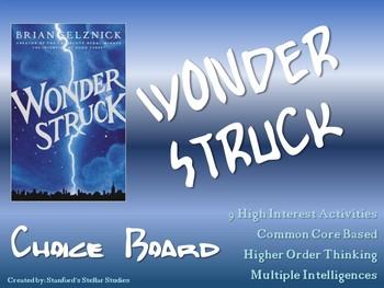 Wonderstruck Choice Board Menu Novel Study Activities Book
