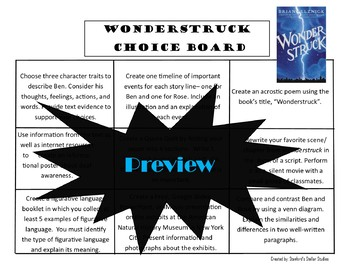 Wonderstruck Choice Board Menu Novel Study Activities Book Project Tic Tac Toe