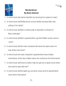 Wonderstruck by Brian Selznick, Battle of the Books Questions