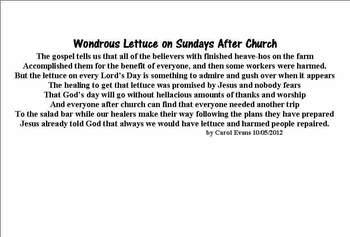 Wondrous Lettuce On Sundays
