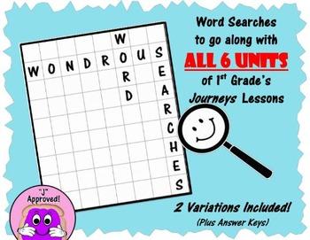 Wondrous Word Searches BUNDLE- Journeys Units 1-6 (First Grade)