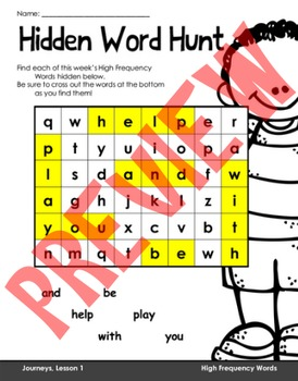 Wondrous Word Searches- Journeys Unit 1- First Grade