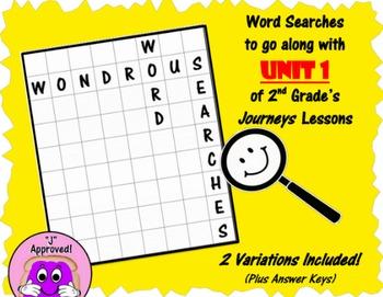 Wondrous Word Searches- Journeys Unit 1- Second Grade