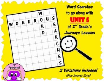 Wondrous Word Searches- Journeys Unit 5- Second Grade