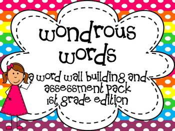 Wondrous Words {A Word Wall Building and Assessment Pack} Brights and Patterns