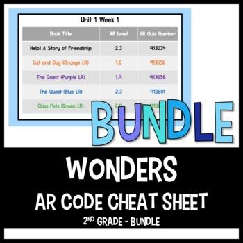Wonders AR Quiz Number Cheat Sheet BUNDLE Units 1-6