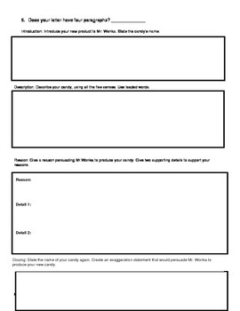 Wonka's New Product - Graphic Organizer and Checklist for Writing