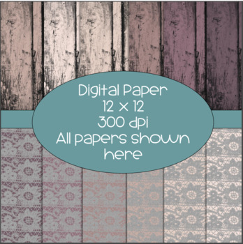 Wood/Bark and Lace Digital Papers  - 300 dpi 12x12