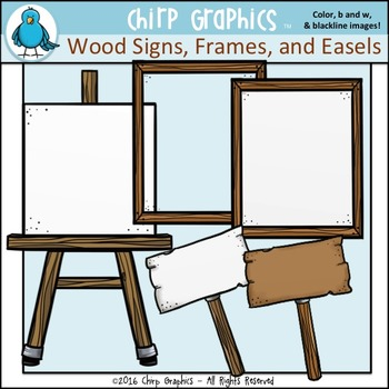 FREE Wood Sign, Frame, and Easel Clip Art Set - Chirp Graphics
