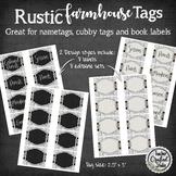 Rustic Farmhouse Editable Book Bin Labels | Name Badge Tags