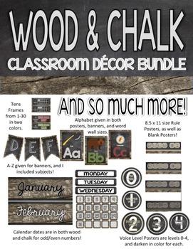 Wood & Chalkboard Classroom Decor Pack