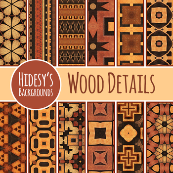 Wood Detail Backgrounds / Digital Papers Clip Art for Commercial Use