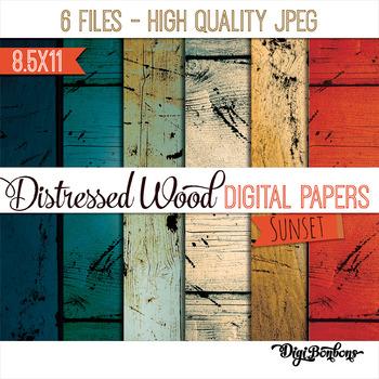 Wood Digital Paper - Pastels - Distressed wood - 8.5 x 11 - USL