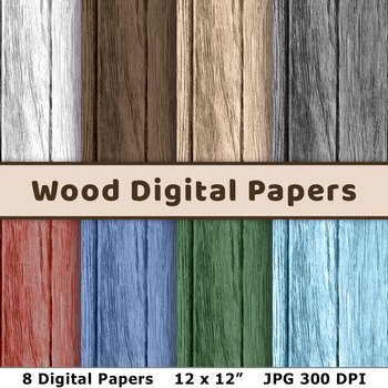 Wood Digital Papers- Natural + Painted Colors, Texture, Background, Backdrop
