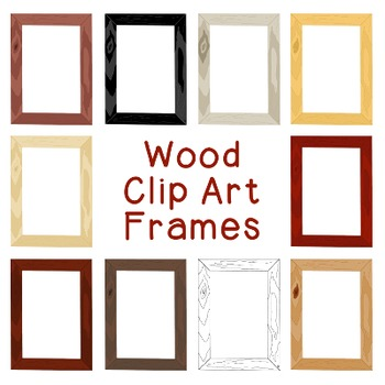 Wood Frames Clip Art PNG JPG Blackline Included Commercial or Personal