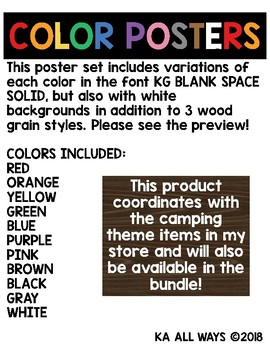 """""""WOODSY"""" COLOR POSTERS (CAMPING THEME)"""