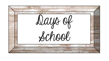 Wood Grain Days of School Set