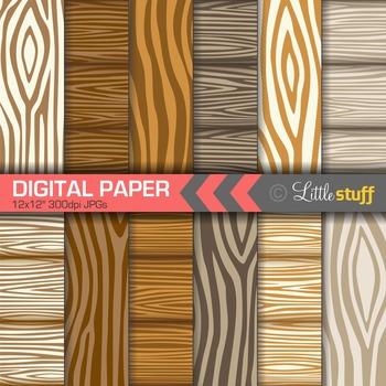 Wood Grain Digital Backgrounds, Wood Pattern Digital Paper, Woodgrain