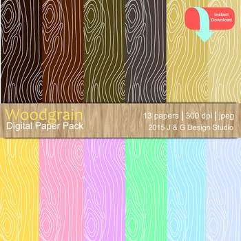 Wood Grain Digital Paper Pack Collection (3005)