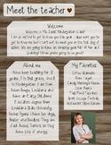 Wood Grain Meet The Teacher Template **Editable**