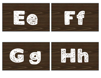 Wood Grain Square Word Wall Letters