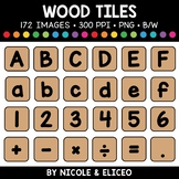 Wood Letter and Number Tiles Clipart 2