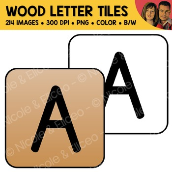 Wood Alphabet Tiles Clipart (English + Spanish)