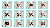 Wood/Mint clock labels