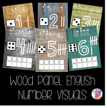 Wood Panel English Number Visuals