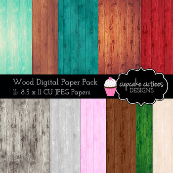 Wood Papers Digital Paper Pack 8.5 x 11 JPEG