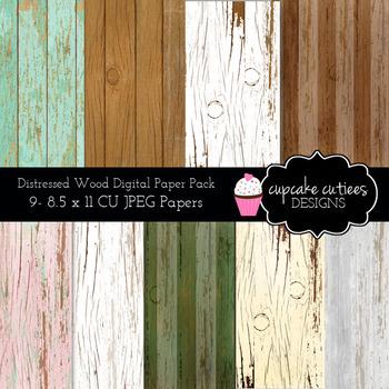 Wood Papers Distressed Digital Paper Pack 8.5 x 11JPEG