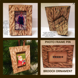 Wood Print Convertible Frame Pin Ornament For 2x3 Photo Printable