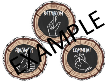 Wood Slice Chalkboard Hand Signals