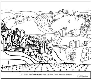 Wood.  Stone City, Iowa.  Coloring page and lesson plan ideas