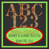Wood Style PNG Bulletin Board Capital Letters and Numbers