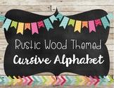 Wood Themed Cursive Alphabet