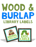 Wood and Burlap Library Labels