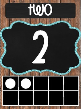 Wood and Chalkboard Number Posters