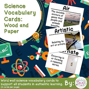 Wood and Paper Science Vocabulary Cards (FOSS Wood and Paper Module)