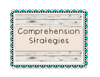 Wood background/aqua squiggly frame-Comprehension Strategies Posters