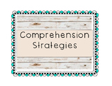 Wood background/aqua squiggly frame-Comprehension Strategi