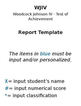 Woodcock Johnson IV Report Template