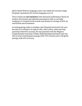 Woodcock Johnson III Report Template