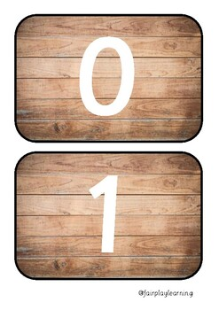 Wooded Number Line Flashcards 0-10