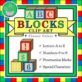 ABC BLOCKS Classic Clip Art Set - Wooden Alphabet Letters