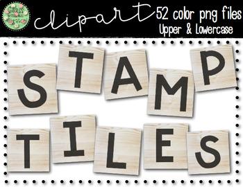 Wooden Alphabet Letter Stamp Clip Art