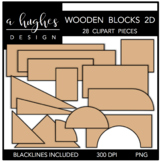 Wooden Blocks 2D Clipart {A Hughes Design}