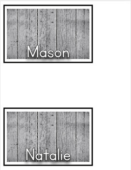 Wooden Farmhouse Bucket Name Labels